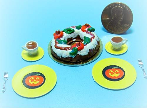 Dollhouse Fall/Halloween Bundt Cake Tea, Plates Forks KL2082 - Miniature Scene Supplies Your Fairy Garden - Doll House - Outdoor House Decor -
