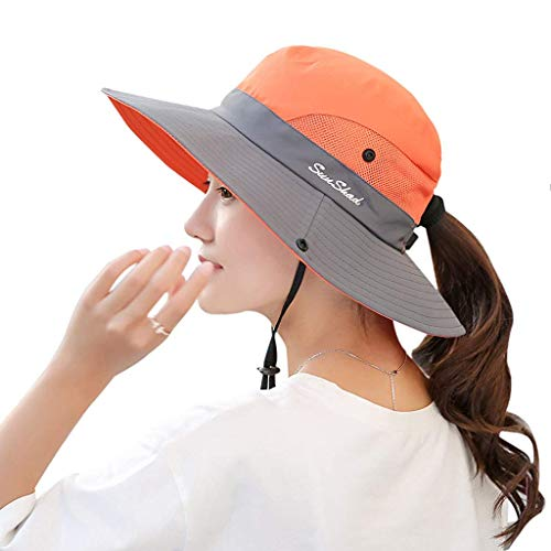 Women's Sun Hat Outdoor UV Protection Foldable Mesh Bucket Hat Wide Brim Summer Beach Fishing Cap Orange