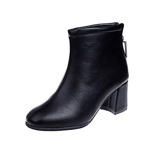 Black 7.5 US Black 7.5 US Women's Fashion Boots PU(Polyurethane) Winter Boots Chunky Heel Square Toe Booties Ankle Boots Black Brown