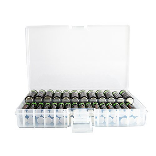 Foto&Tech Clear AA/AAA Plastic Battery Storage Case/Organizer/Holder (Holds 46 AA Batteries or 64 AAA Batteries) ()