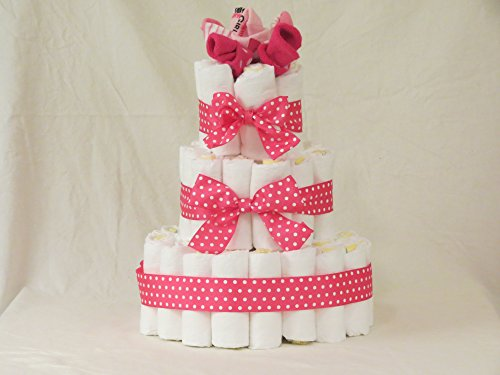 3 Tiers Pamper Diaper Cake Center Piece (Girl)