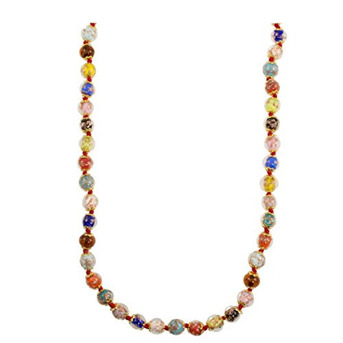 (Just Give Me Jewels Venice Murano Sommerso Aventurina Glass Bead Long Strand Necklace in Multi-Colors, 26+2
