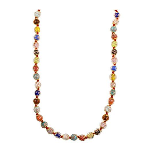 Genuine Venice Murano Sommerso Aventurina Glass Bead Strand Necklace in Multi, 18+2