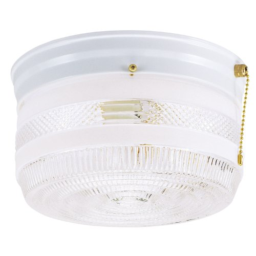 Westinghouse 6734500 Two-Light Flush-Mount Interior Ceiling Fixture with Pull Chain, White Finish with White and Clear Glass (Pull White Glass)