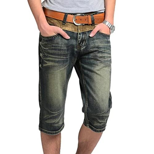 Cheap Fensajomon Mens Vintage Mid Waist Straight Leg Denim Shorts Jeans Crop Pants