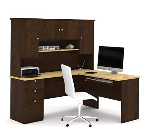 Bestar L-Shaped Desk with Pedestal and Hutch - Manhattan