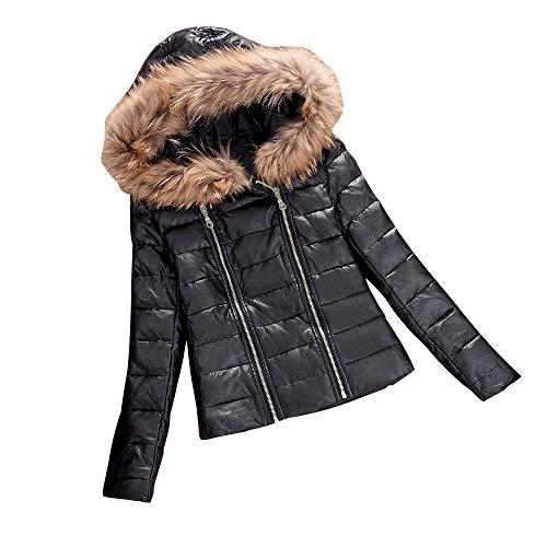 Winter Sleeve Warm Moto Artificial Jacket Faux Zipper Black Ladies Coat Leather Down Women's Jacket Jacket Fur Windproof Hooded Biker Long Zerototens Black Short Autumn Bomber xqZI61w