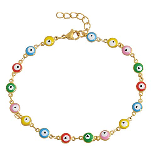 - Edforce 18k Gold Plated Multi-Colored Yellow Blue Red Green Pink Evil Eye Anklet, 9