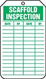 Accuform Signs TRS317CTP Scaffold Status Tag, Legend''SCAFFOLD INSPECTION'', 5.75'' Length x 3.25'' Width x 0.010'' Thickness, PF-Cardstock, Green on White (Pack of 25)