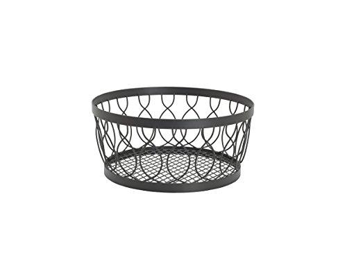 Gourmet Basics by Mikasa 5216832 Rustic Farmstand Metal Centerpiece Basket, Vintage Gray