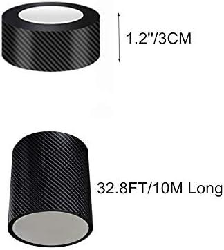 LANZMYAN 5D Glossy/Carbon Fiber Black Vinyl Wrap Kit Automotive DIY Wrap Film Tape Roll for Universal Vehicles1.2/'/'x32.8Ft 3cmX10m
