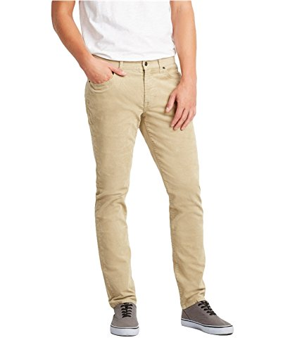 Aeropostale Mens Skinny Stretch Casual Corduroy Pants Brown 36x32