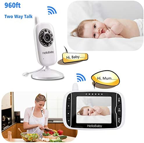 418EwgRY5DL. AC - Video Baby Monitor With Camera And Audio | Keep Babies Nursery With Night Vision, Talk Back, Room Temperature, Lullabies, 960ft Range And Long Battery Life