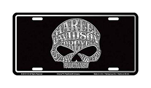 Harley Davidson Willie G Skull Tattoo Embossed Metal Vanity Car License Plate Auto (Embossed Car Metal License Plate)