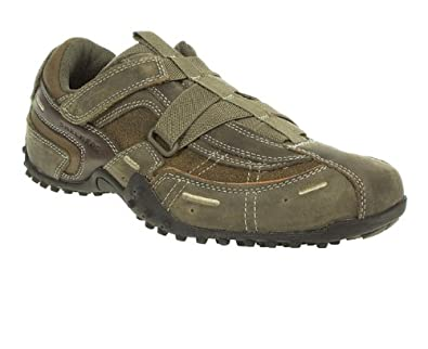 Skechers Mens Khaki Leather Velcro Strap Round Toe Casual Trainers Size 9 Amazon.co.uk Shoes ...