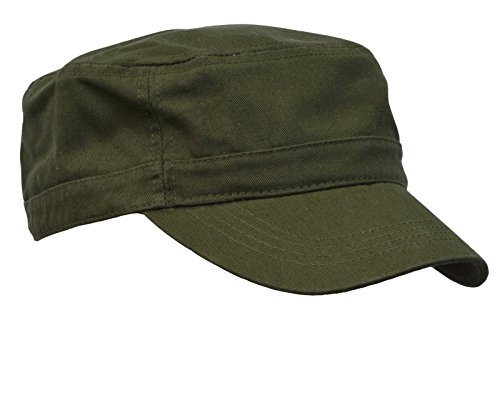 Military Cap Hat Olive (KC Caps® Unisex Washed Cotton Twill Adjustable Army Military Cadet Cap)