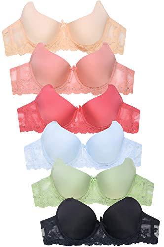 Embroidered Nylon Briefs - Women's Premium Lace Bra (6 Pack) (40C)