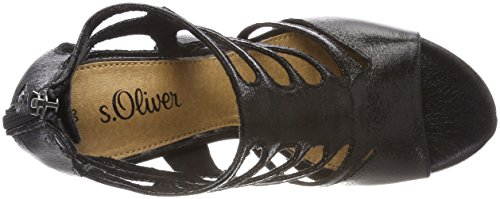 S.oliver Dames 28318 Peeptoe Sandalen Zwart (black)