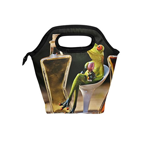 Funny Frogs Foil - HEOEH Frogs Drinking Wine Lunch Bag Cooler Tote Bag Insulated Zipper Lunch Boxes Handbag for Outdoors School Office
