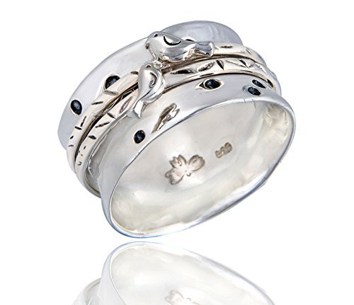 Energy Stone Love Bird Sterling Silver Spinner Ring (Style# USA22) ()