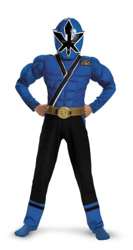 Blue Ranger Samurai Classic Muscle Costume - Large (10-12) (Blue Power Ranger Costume)