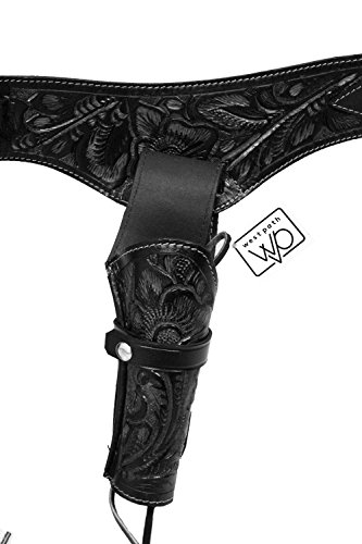 Open Road Goods 22 Caliber Western Leather Gun Holster & Belt - Cowboy Style Single Drop Rig Standard Barrel - Authentic Handmade Hand Tooled .22 Cal (Black, 42)