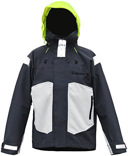 Packable Wading Jacket - Navis Marine Men's Sailing Waterproof Jacket Fishing Foul Weather Gear Raincoat (Grey, S)