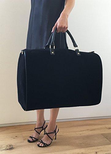 Limited Time Sale - Womens Black Velvet Weekender Bag, Duffle Bag, Overnight Bag, Travel Bag, Luggage, Large Tote Bag, Fashion Bag, Durable Bag, Best Handbag for women (Classic Black) - MSRP $99 by Lulu Dharma (Image #1)