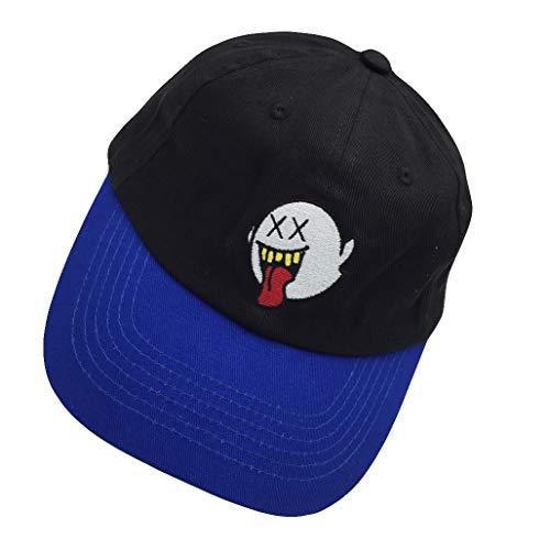 zhidan wei Distressed Boo Mario Ghost Baseball Cap 3D Embroidery Dad Hats Adjustable Snapback Black