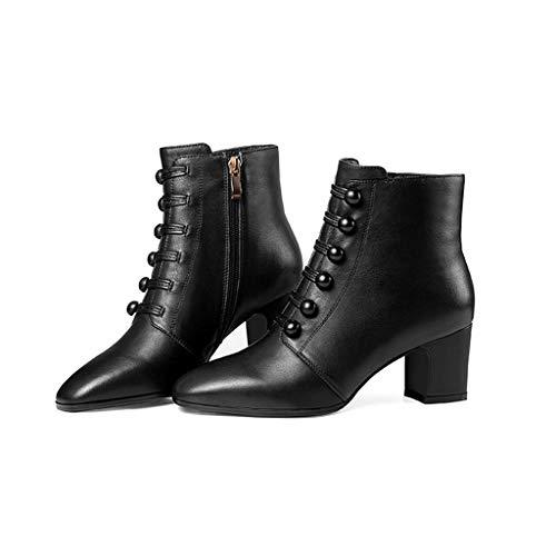 Altos Gruesas Invierno Tacones De E Nuevos Moda 2018 Martin Botas Salvajes Negro Con Cuero Otoño Verde Algodón Modelos Zapatos 70qzP0