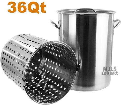 Pot Strainer Basket 36QT Heavy Commercial Stainless Steel Du