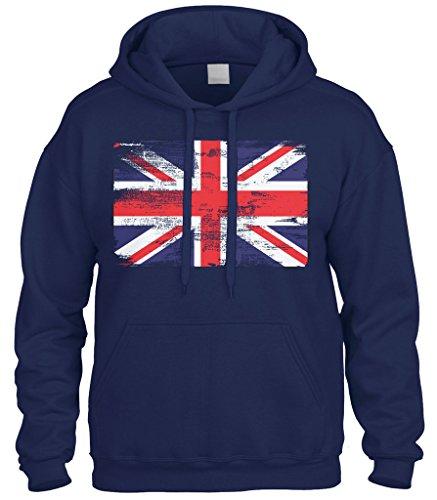 (Cybertela Faded Great Britain England Flag Sweatshirt Hoodie Hoody (Navy Blue, Large))