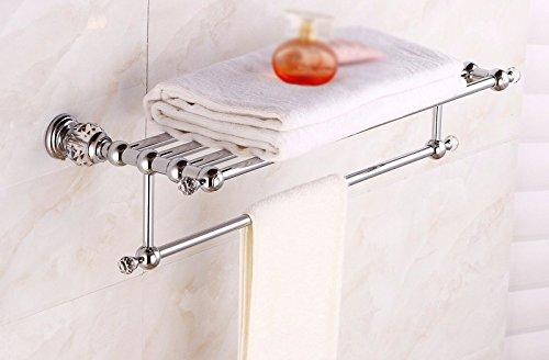 GGHYYO Bathroom Towel Holders Rack Shelf Crystal Silver Color