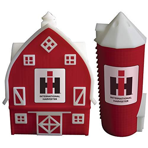 Farmall Barn & Silo Salt & Pepper Shakers - Handpainted Ceramic w/IH Logo
