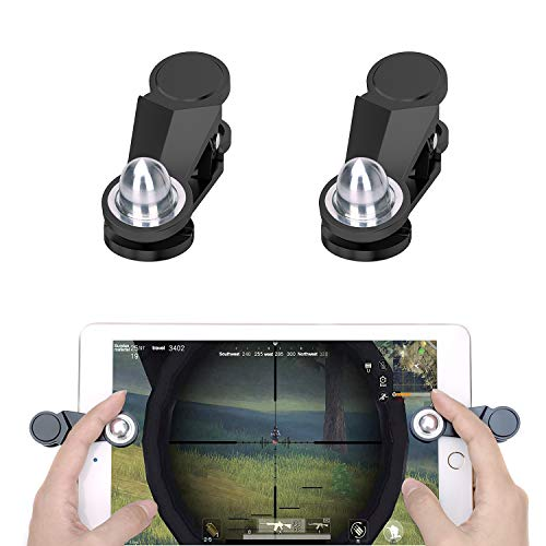 GTOTd Mini 3D Tablet Game Controllers,Oval Metal Touch Buttons,Hard Plastic,Rubber Pad for Screen Protection,Sensitive Aiming and Shooting for Tablet Game Players (2 triggers) ()