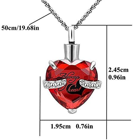 Heart Crystal Cremation Urn Necklace for Ashes Sweet 16 January Birthstone Memorial Pendant