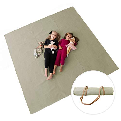 """Sonder Leather Multipurpose Mat - Kids Modern Picnic Mat - Waterproof and Sand Proof Beach Blanket - Indoor Outdoor Play Mats - with Carrying Strap for EasyTravel, 80""""x80"""" or 54""""x54"""" (Sage 80"""" x 80"""")"""