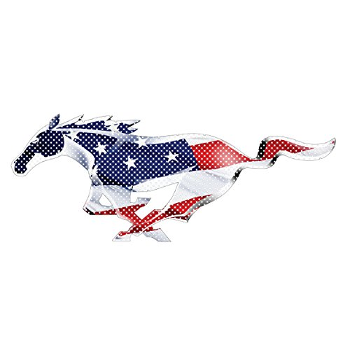 "Ford Mustang Pony in USA Flag 12"" 3M Perforated Unobstructed View Window Graphic Decorative Decal"