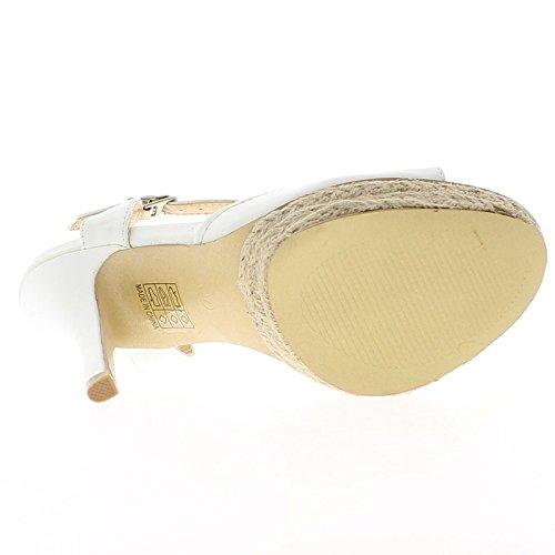 Extremo blanco sandalias tacón abierto 13cm y plataforma