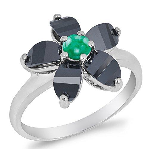 Genuine Emerald Flower (925 Sterling Silver Round Cabochon Natural Genuine Green Emerald Plumeria Flower Ring Size 6)