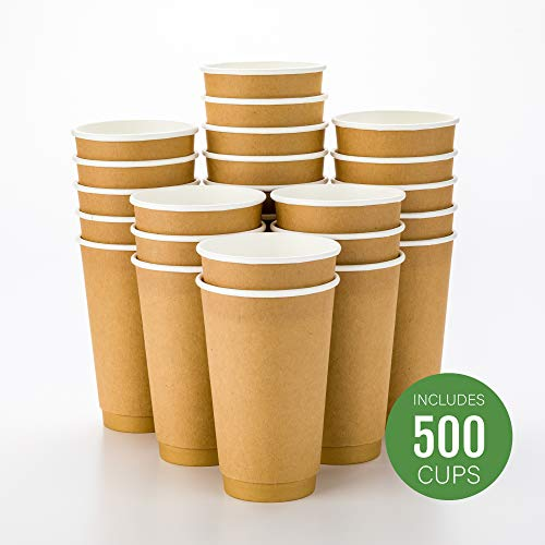 - 500-CT Disposable Kraft 16-oz Hot Beverage Cups with Double Wall Design: No Need for Sleeves - Perfect for Cafes - Eco Friendly Recyclable Paper - Insulated - Wholesale Takeout Coffee Cup