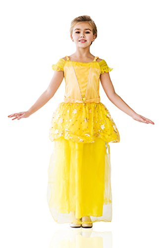 Fairy Tale Classics Costumes (Kids Girls Princess Costume Magic Beauty Classic Fairy Tale Party Outfit Dress Up (6-8 years, Yellow, Golden))