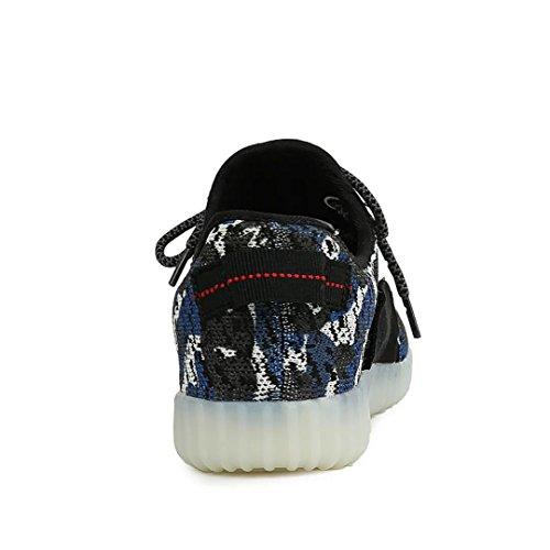 Joansam 7 Färger Ledde Lysande Unisex Gymnastik Män Och Kvinnor Usb-laddning Ljus Färgstarka Glödande Fritid Blinkande Skor Sportskor Blue2