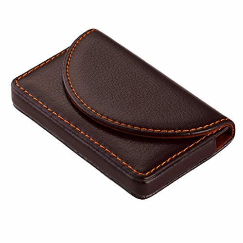Card Holder, Kemilove PU Leather Business Name Card Case Universal Card Holder with Magnetic Closure (Coffee)
