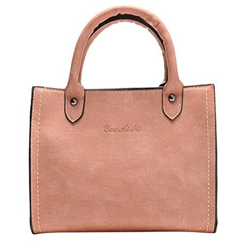 Shoulder Bag, Woman Leather Mini Handbag Vintage Messenger Bag Motorcycle Crossbody Bags Pink