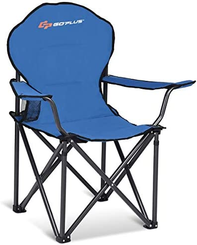 Goplus Folding Beach Chair Heavy Duty High Capacity Camping Chair Durable Outdoor Patio Seat