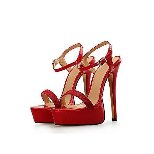 Grande Pointure Lanière Rouge Sexy Talon Epais Plateforme Sandales 4CM OCHENTA Travesti Haut 16CM Femme qAOPqvw4