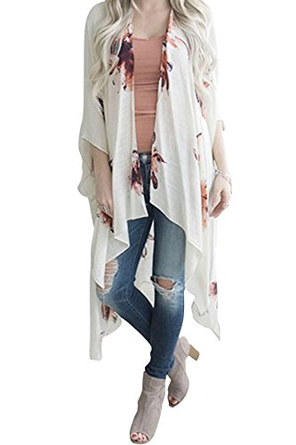 Geckatte Women's Floral Print Cardigan Chiffon Loose Swing Kimono Capes 3/4 Sleeve Irregular Tops