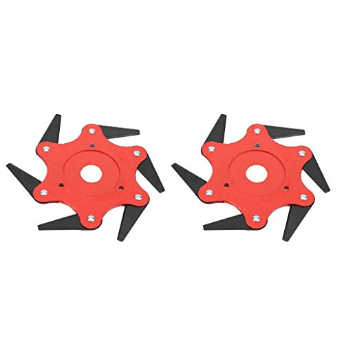 (Ranoff 2PCS Outdoor Trimmer Head 6 Steel Blades Razors 65Mn Lawn Mower Grass Weed Cutter Tool Lawn Mower Head (Red))