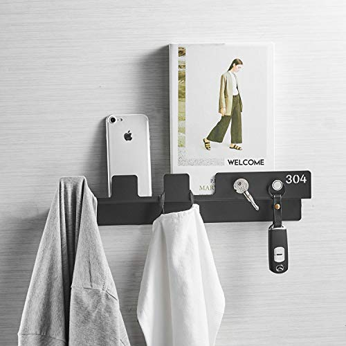 Matte Black Coat Rack - Hiendure Entryway Shelf,Coat Hook Rack, Mail Envelope Organizer with Magnetic Hook for Keys Constructed of 304 Stainless Steel,Matte Black